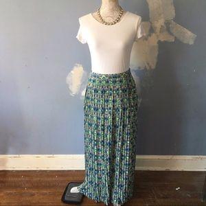Skies Are Blue // Pleat Geometric Print Maxi Skirt